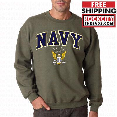 Military Crew Sweatshirt - US NAVY LOGO CREW NECK MILITARY GREEN United States Crest USNAVY Sweatshirt USN