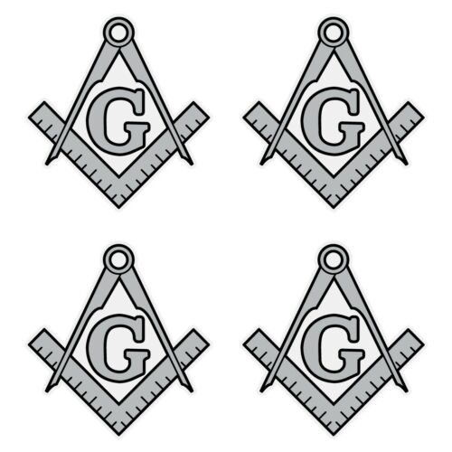"Masonic Square and Compass Silver Very Small 1"" Reflective Decal Sheet of 4"