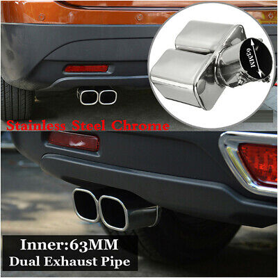 63mm Bent Car Dual Exhaust Tip Trim Pipe Tail Muffler Stainless Steel Chrome