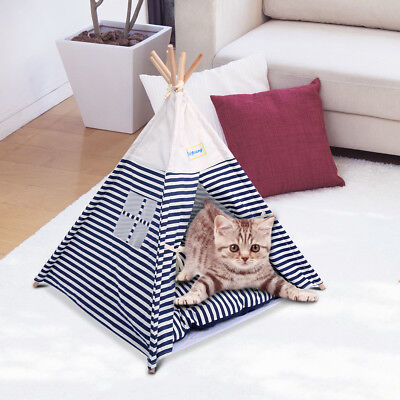 Pet Kennel Navy Striped Teepee Tent Cat Dog Bed Pad Puppy Kitten Play House
