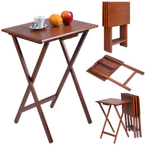 Wonderful Set Of 4 Portable Wood TV Table Folding Tray Desk Serving Furniture Walnut  New