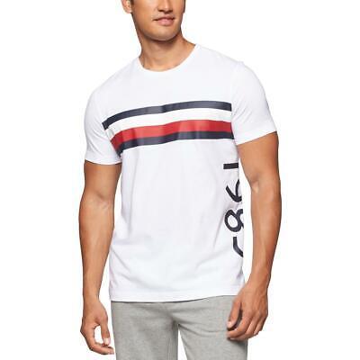 Tommy Hilfiger Mens White Cotton Striped Pajamas Sleep Tee Shirt XL BHFO 9603