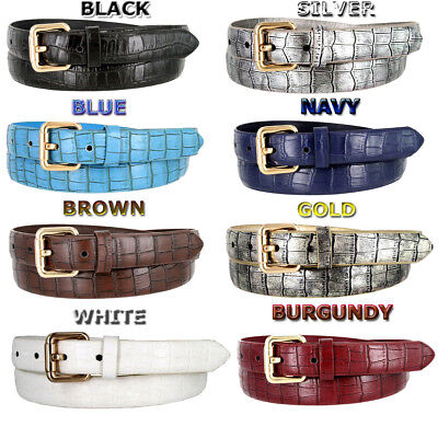 7075 WOMEN'S SKINNY MATTE CROCO EMBOSSED LEATHER CASUAL DRESS BELT (8) COLORS Croco Embossed Leather Belt