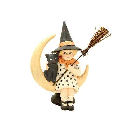 Bethany Lowe Designs Halloween Midnight Moon Cat with Black Cat Figurine