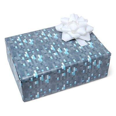 8 Bit Pixel Diamond Ore Wrapping Paper Gift Wrap Mine Craft