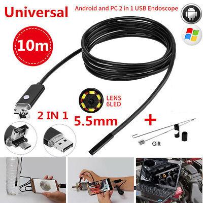 10M 5.5mm 6LED HD Endoscope Waterproof Snake Borescope USB Inspection Camera (Borescope Kit)