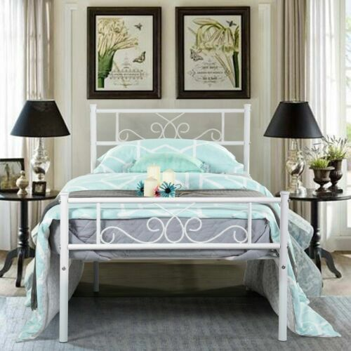 Twin Size Metal Bed Frame Mattress Foundation with Headboard and Footboard White