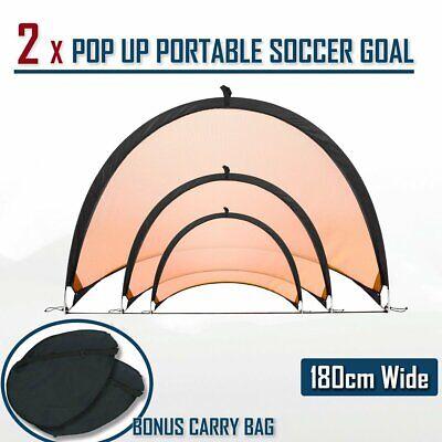 2 x PAIR OF SOCCER GOAL 80-180CM POP UP GOALS PORTABLE ELITE NEW FOOTBALL SET