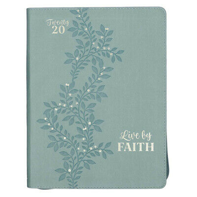 Live by Faith, Seafoam Green Large Faux Leather Zippered Daily Planner for -