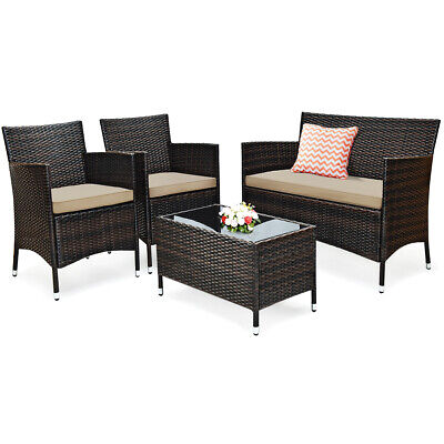 4PCS Rattan Patio Outdoor Furniture Set Cushioned Sofa Chair