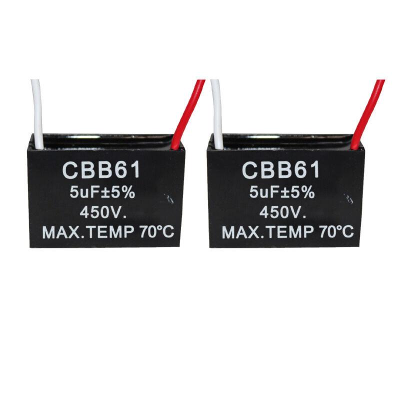 450v 5Uf CBB61 Ceiling Fan Motor Running Capacitor 2 Wire 50/60 Hz