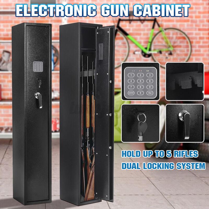 Snailhome Key Lock Electronic 5 Gun Fireproof Safe Ammo Storage Box Cabinets