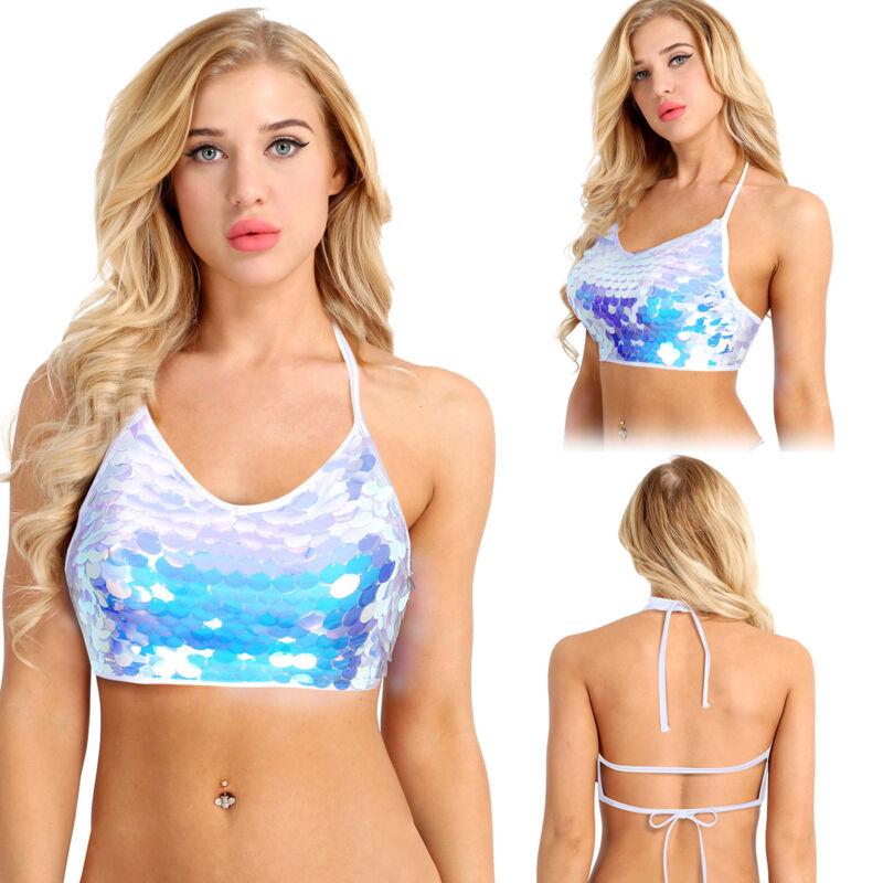 Women Sequin Tank Top Vest Blouse Bustier Bra Halter Crop Top Bralette T-Shirt