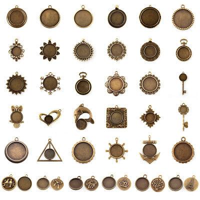 Antique Bronze Flat Round Tray Pendant Cabochon Blank Bezel Settings Nickel Free ()