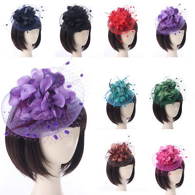 Vintage Women Lace Feather Mini Top Hat Fascinator Fancy Party Flower Hair Clip (Top Hat Fascinators)