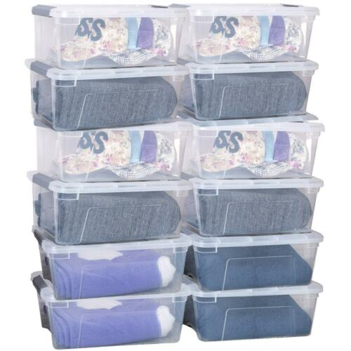 12 Pack 144 Quart Clear Plastic Latch Stack Storage Tubs Box
