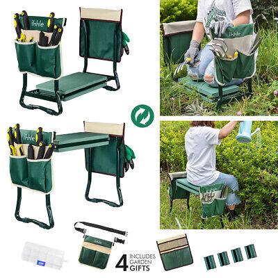 Folding Garden Kneeler Bench Kneeling Soft Eva Pad Garden Seat + Stool Pouch US