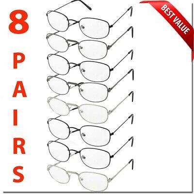 READING GLASSES 8 PACK METAL LOT CLASSIC READER UNISEX MEN WOMEN STYLE BULK LOT (New Reading Glasses)