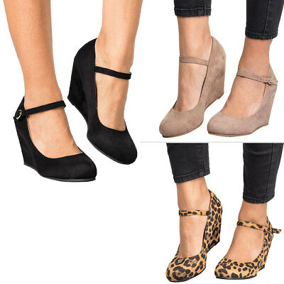 New Women Round Closed Toe Buckle Mary Jane Med High Wedge Heel Pump Sandal Shoe ()
