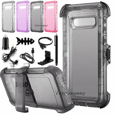 Clear Shockproof Phone Case Cover+Belt Clip For Samsung Galaxy S10 Plus/S10/S10e Clear Cover Case Clip
