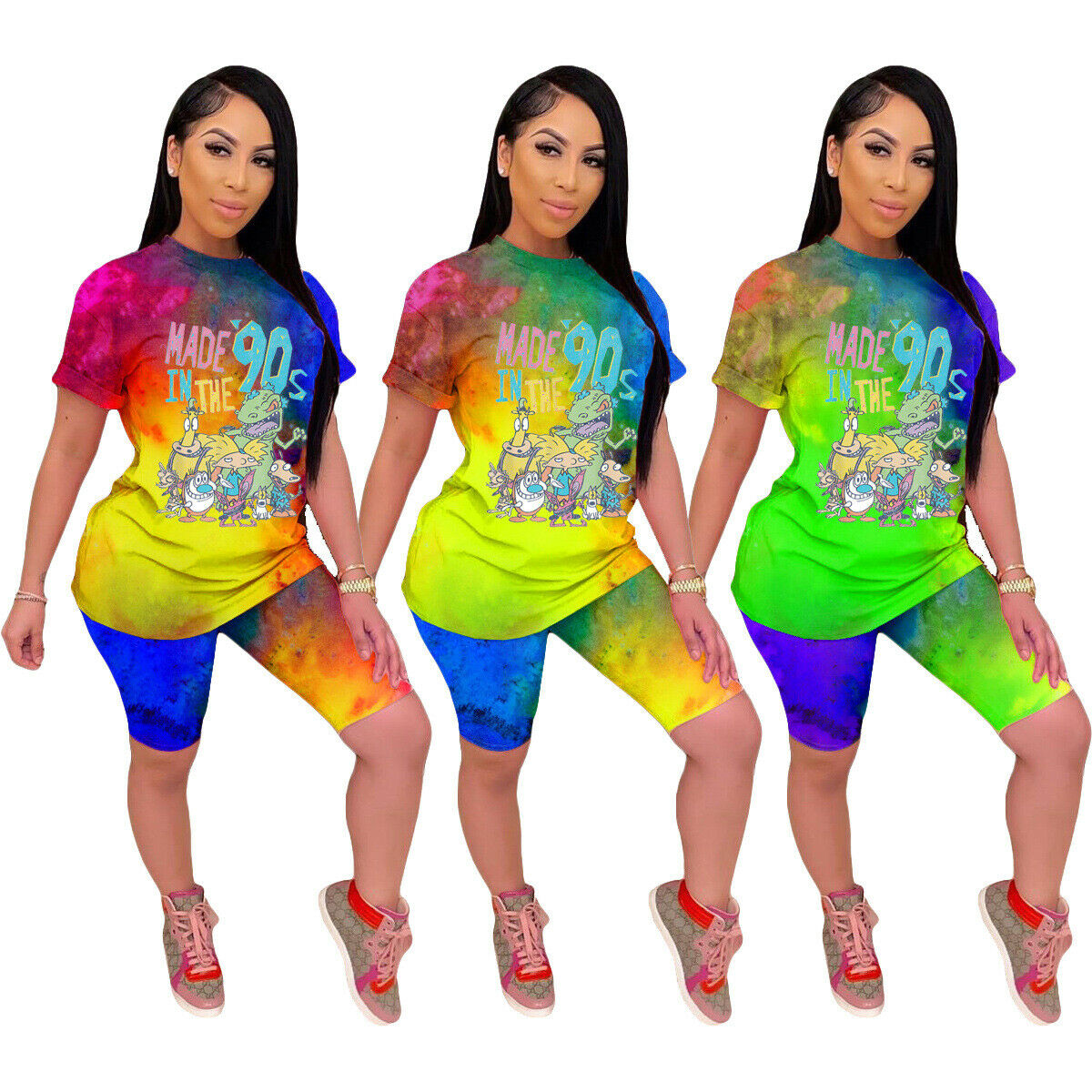 Women Cute Print Patchwork Crew Neck Long Sleeves Casual Club Long Jumpsuit 2pc