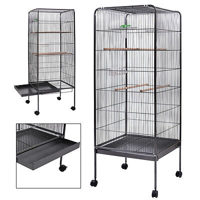 "Large Parrot Finch Cage 58"" Bird Two Doors Play Top Pet w/ Perch Stand Flatt"