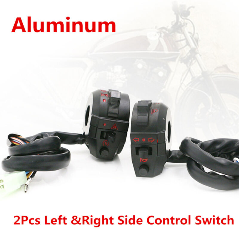 """2X 7/8"""" Motorcycle Handlebar Control Switch High/Low Beam Light Horn Switch Part"""