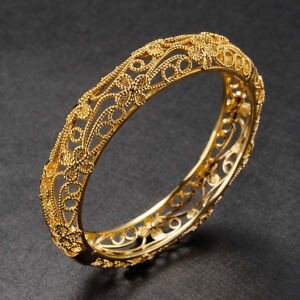 Womens 24ct Solid Yellow Gold gf Flower Bangle Bracelet 14MM Gift UK SELLER!!