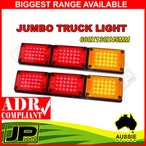 2 x JUMBO TAIL STOP LED  LIGHTS LAMP INDICATOR LED TRAILER TRAY 12V 24V TRUCK