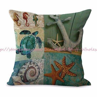 US SELLER-beach sea life turtle anchor cushion cover home decor - Beach Decorating Accessories