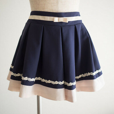 🎀nohea🎀 Bow Cute Navy Pleated Culottes Japan Size M Skirt Romantic Lolita C602