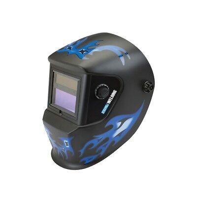 Auto Darkening Welding Helmet Blue Flame Design Chicago Electric Hood New Box