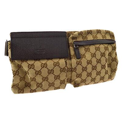 GUCCI GG Waist Bum Bag Brown Canvas Leather Vintage Authentic AK31341g
