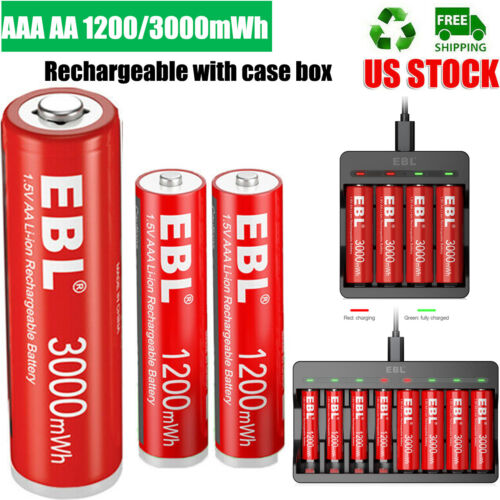 AAA AA Li-ion Rechargeable 1200/3000mWh Lithium Batteries / Charger Upgrade Lot