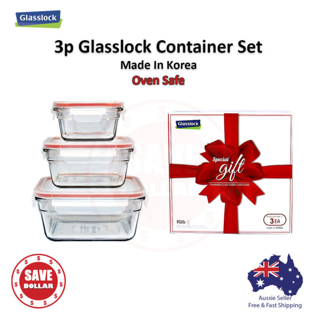 Gllock 3p Tempered Gl Food Container Storage Microwave Oven Safe Gift Set