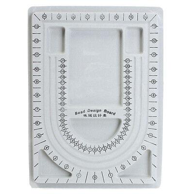 Flocked Bead Board String Beading Jewelry Design Organiser Tray DIY Craft Gray - Bead Design