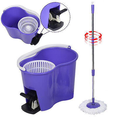 Microfiber Spinning Mop Easy Floor Mop W Bucket 2 Heads 360 Rotating Head Purple