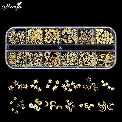 12 Grid Nail Art Moon star Gold Metal Rivet Studs 3D DIY Charm Decoration