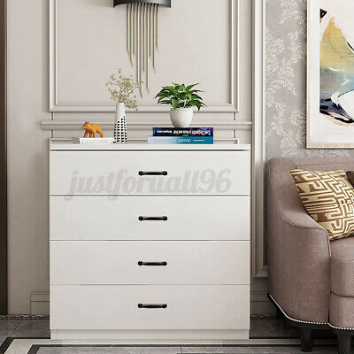 Wooden Chest Of 4 Drawers Dresser Bedroom Bedside Table Storage Organizer White