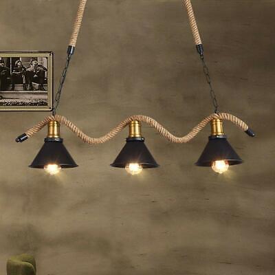 Vintage Industrial Black Metal Cone Shade Hemp Rope Island Ceiling Pendant Light