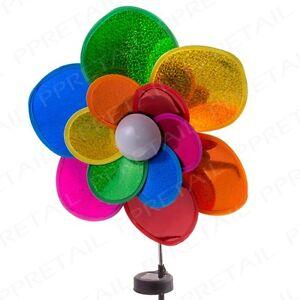 Holographic SOLAR POWERED Light-Up LED Flower Windmill Spinner Garden Outdoor