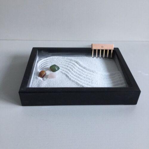 Zen Garten Holzkasten mit Halbedelstein  Feng Shui Meditation Tischdeko 15x20 cm
