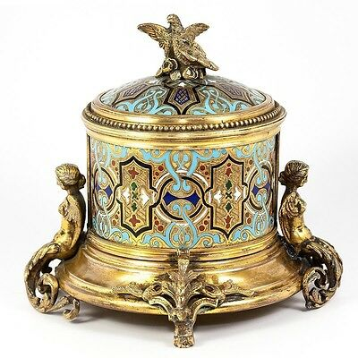Antique French or Russian Champleve Enamel Box, Jewelry Casket, Figural - Superb