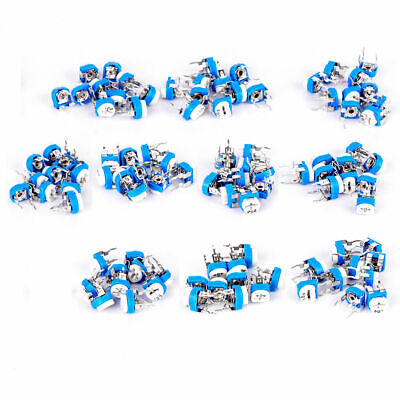 100pcs 10 Values Potentiometer Trimpot Variable Resistor Assortment Box Kit Set
