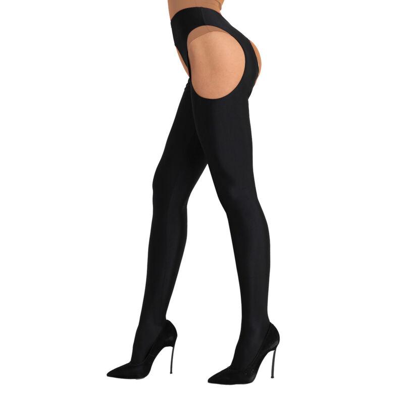 New Womens Regular and Plus Sizes Black Metallic Finish Elasticated Elasticated Lace Top Suspender Stockings