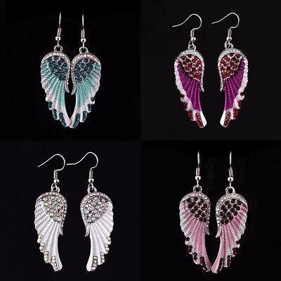 Angel Wing Dangle Earrings Crystal Rhinestone Fashion Bridal Party Jewelry - Angel Wing Earrings