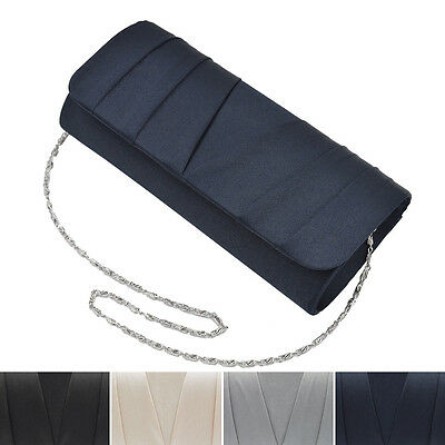 Elegant Classic Solid Satin Pleated Satin Flap Clutch Evening Bag (Pleated Clutch)
