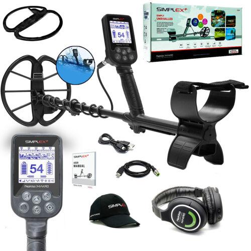 Nokta Simplex+ Waterproof Metal Detector with Wireless Headphones, Hat