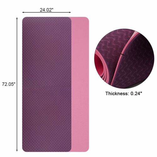 """72"""" Thick Yoga Mat Gym Camping Non-Slip Fitness Exercise Pilates Meditation Pad 10"""