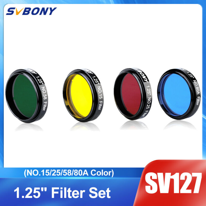 """SV127 1.25"""" Eyepieces Filters Set(NO.15/25/58/80A Color) for Planetary Details"""